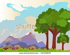 Vector summer landscape. Beautiful rural landscape. Large trees in the foreground. Beautiful background.