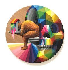 A street art show Feat: Okuda San Miguel / Remed (Fr) / / Hell'o (Be) / Zosen & Mina Hamada (Jp) / Jon Fox (UK) purchase online here Graffiti, Street Art, Okuda, Art En Ligne, Gold Coast, Urban Art, Oeuvre D'art, Lovers Art, Friends Family