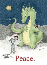 Peace Dragon by betsystreeter Cute Dragon Drawing, Dragon Kid, Dragon Knight, Cute Dragons, School Posters, High Fantasy, How To Train Your Dragon, Childrens Books, Holiday Cards