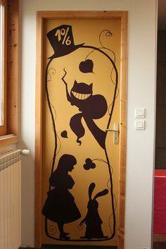 Alice and wonderland door sticker.