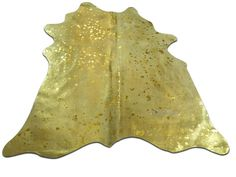 Gold Metallic Cowhide Rug Size: 5 X 5' ft Gold by deluxecowhides