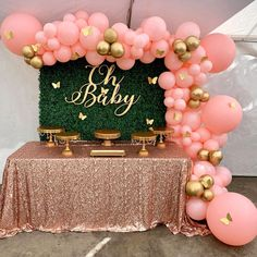 Butter baby shower theme styled by @valsdecorationrentals | Gold Cake Stands available at AmalfiDecor.com | Styling: pink and gold balloon garland, grass wall backdrop, rose gold sequin table cloth and Oh Baby sign | Follow Amalfi Decor for more baby shower inspiration Baby Girl Shower Themes, Baby Shower Decorations For Boys, Baby Shower Princess, Baby Shower Fun, Girl Baby Shower Cakes, Baby Shower Pictures, Baby Shower Desserts, Baby Shower Table, Gold Baby Showers
