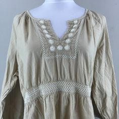 Old Navy Woman's Beige Long Sleeve Embroidered Shirt Size XL | eBay