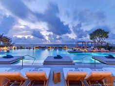poolside, nighttime view, relaxation