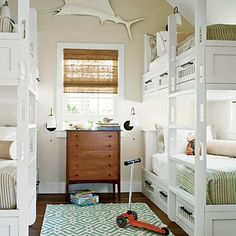 I like how open these bunk beds are!