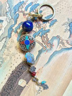Asian Tibetan Amulet Raw Gemstone Lapis Lazuli Keychain Silver Hamsa Infinity Knot Good Fortune  Feng Shui Boho Purse Beads Bag Car Charms by MinedStars on Etsy