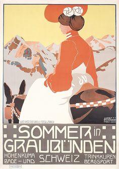 STUNNING Original Swiss Travel Poster GRAUBUNDEN 1900s