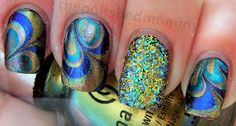Bohemian Water Marble Mani with Glitter Accent Nail
