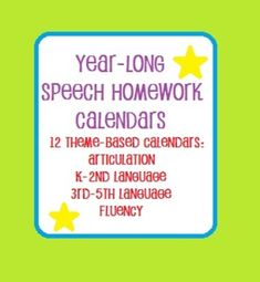 Speech And Language Homework Calendars Bundle  Homework