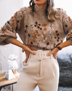 Boutique, Zara Outfit, Zara New, Floral Sweater, Mode Inspiration, Everyday Fashion, Casual Outfits, Fall Outfits, Beautiful