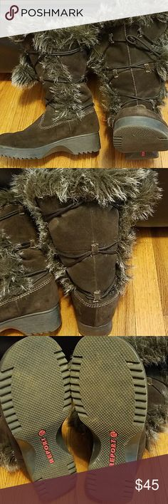 REPORT FAUX FUR BOOTS Barely Used dark brown faux fur report brand boots Rubber Soul size 7 leather material on outer shell of boot size 7 about mid length High Report Shoes Winter & Rain Boots