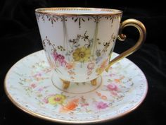 Antique Dresden A Lamm footed demi tasse cup and saucer Gold & Flowers c. 1887