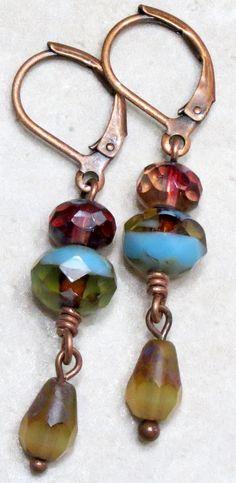 Purple, Blue and Gold Czech Glass Bead Dangle Drop Earrings in Antique Copper, Unique Handmade Boho Jewelry.