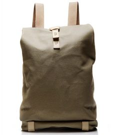 Brooks 24 L Canvas Backpack (Tan) - Rugged, versatile roll-top backpack made from water-resistant treated European canvas with vegetable-tanned leather trim. Also available in Asphalt