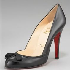 Christian Louboutin Lavalliere Black w/ Bow Sweet grosgrain bow, sexy black leather, these shoes are great for the office and drinks after. Wear w/ a black pencil skirt and feminine blouse. Dress up for date night and wear skinny jeans with a black silk blouse and these classy heels. Like most of my Louboutin collection, these shoes were fitted with custom red rubber bottoms (this pair is Vibram) to preserve the sexy red sole look and extend the life of the shoe. Wear w/ pride, you didn't…