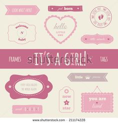 """Baby set """"It's a girl!"""" for your design and scrapbooking - stock vector"""