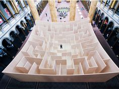 Visitors to the National Building Museum in Washington DC can now get lost inside a concave wooden maze installed by Danish architecture firm BIG. Big Architects, National Building Museum, Maze Design, Set Design, Display Design, Design Ideas, Illustrations, Installation Art, Art Installations