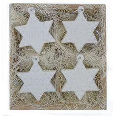 4 White Ceramic Sentiment Stars