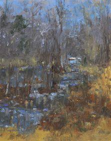 "Raymond Berry: South Anna Towards Gilmans Bridge, December 19, 2013, Oil on Panel, 10"" x 8"""