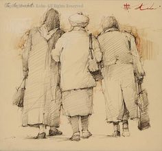 To the Market, graphite by Andre Kohn