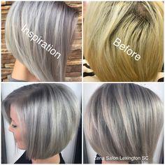 www.zenasalonandboutique.com Silver Hair Inverted Bob. Grey hair trend