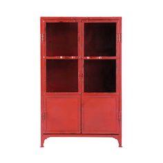 Mobiletto vetrato rosso stile industriale in metallo L 75 cm