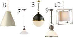{1. Grosvenor Single Pendant | 2. Garey Medium Industrial Light | 3. Modern Globe Pendant | 4. Small Cornice Hanging Lantern | 5. Lauren Andover Pendant | 6. Goodman Hanging Lamp | 7. Boston Pendant | 8. Extra Large Hicks Pendant | 9. Large Country Industrial Pendant | 10. Medium Caged Lantern}