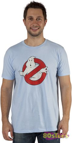 This Ghostbusters shirt features a distressed print of the original logo. The sky blue tee is composed of a soft cotton / polyester blend.