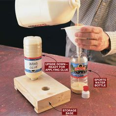 DIY Tip of the Day: Free glue dispensers. Here's a tip from reader Don Ayers. Fill snap-capped water bottles with glue and stick them upside down in a 2x6 into a hole that's a smidgen larger than the cap's diameter. Now you don't have to wait for the glue to run into the neck of the bottle, and the cap will control glue flow. Be sure to snap the lid closed before returning the bottle to the base.