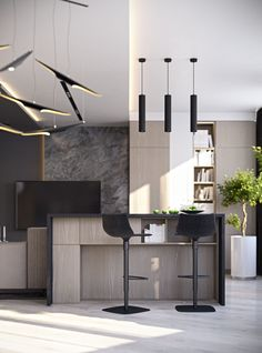 Peace Of Mind by Musa Studio 13 Studio Interior, Modern Interior, Interior Architecture, Interior And Exterior, Interior Design, Flat Ideas, Apartment Design, Cool Kitchens, Kitchen Design