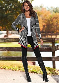 Mixed print cardigan, cami, jegging, over the knee boot from VENUS Casual Fall Outfits, Cool Outfits, Venus Clothing, Denim Fashion, Fashion Outfits, The Cardigans, Latest Fashion For Women, Womens Fashion, Venus Swimwear