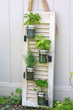 Recycled Shutter Mason Jar Herb Garden