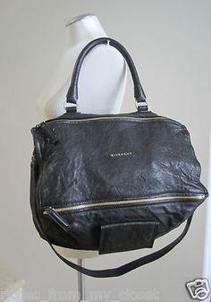 Givenchy Black Pandora Washed Leather Shoulder Handbag