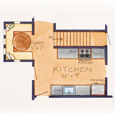 New Galley Kitchen Floor Plan  The basement door was moved from its existing location by the range to the dining room around the corner. With this change, the kitchen gained 3 feet at one end of the wall and extended it on the other end by 9 inches. The move also resulted in a more open and airy feel in the kitchen.