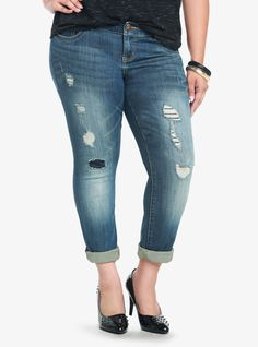 Torrid Denim - Medium Wash Destructed Skinny Jeans  These are the ones I want.