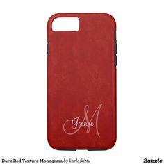 Dark Red Texture Monogram iPhone 7 Case