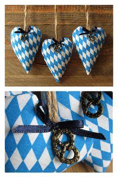 set of 3 fabric hearts Oktoberfest heart hangers traditionally diamonds blue white Oktoberfest deco heart Bavarian diamonds country style
