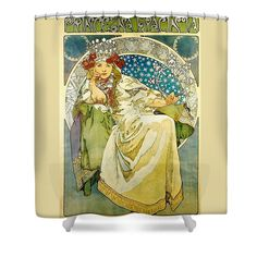 Alphonse Mucha Shower Curtain featuring the painting Princess Hyacinth by Alphonse Mucha