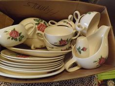 I found the most beautiful dishes in this box.stacked just like this at a junk store. I purchased them and am now making linens to match them and hope to sell them all as a set in my vintage shop Rose Cottage, Linens, Vintage Shops, Most Beautiful, Dishes, Things To Sell, Store, Box, Tableware