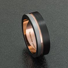 Mens Wedding Band Tri Tone 8mm Brushed Black White by Sydneykimi