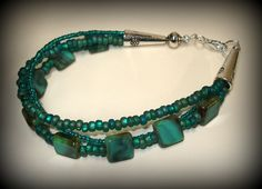 Turquoise Picasso Beaded Bracelet $25.00