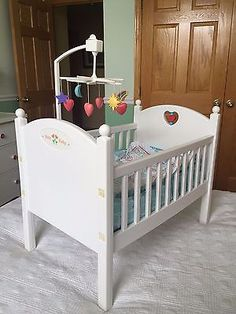 Baby Doll Crib Portable Wooden Doll Bed Mattress Bumper Blanket ...