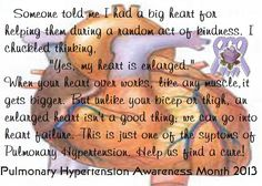 Pulmonary Hypertension awareness month is November of each year! Help us raise awareness throughout the year by Pinning these images Thanks!