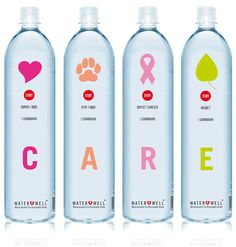 """Water Well is a new danish brand that supports danish children, animals, breast cancer and environment in need (CARE)"" Water Packaging, Beverage Packaging, Bottle Packaging, Pretty Packaging, Brand Packaging, Design Packaging, Coffee Packaging, Label Design, Branding Design"