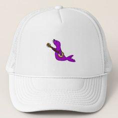 Funny Purple Seal Animal Playing Banjo Trucker Hat custom gift ideas diy