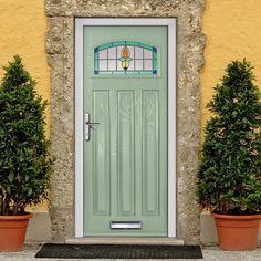 External Virtuoso Malton Opus Composite Door Shown in Sage. #frontdoor #externalsecuredoor #externaldoor & Haley Hydrangea Greenery | Greenery Hydrangea and Decoration