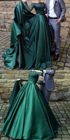 off shoulder modest long sleeves dark green prom dress, PD0841