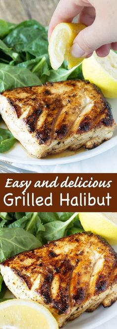 Halibut Enjoy a healthy and delicious meal ready in just minutes! Easy and delicious grilled halibut with honey and lemon will have you falling in love with fish for the first time, or all over again!Falling Falling may refer to: Fish Dinner, Seafood Dinner, Seafood Bbq, Seafood Recipes, Cooking Recipes, Healthy Recipes, Simple Recipes, Chicken Recipes, Recipes Dinner