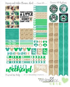 Free Printable Disney and Coffee Planner Stickers from Oh So WhimZey