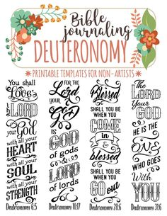 DEUTERONOMY printable Bible journaling templates for non-artists. Just PRINT & TRACE!
